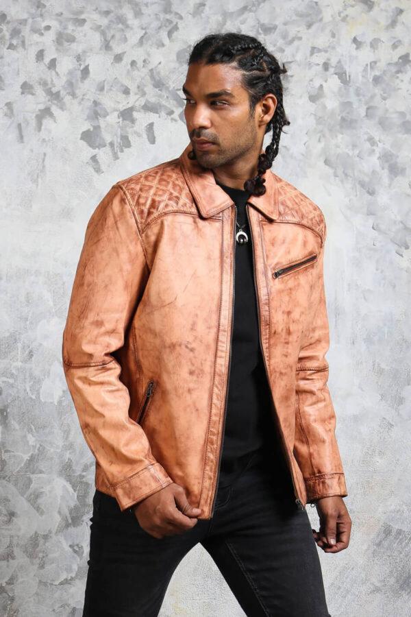 Vintage Biker Quilted Leather Jacket