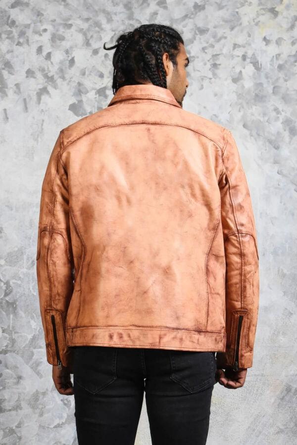 Vintage Biker Tan Leather Jacket