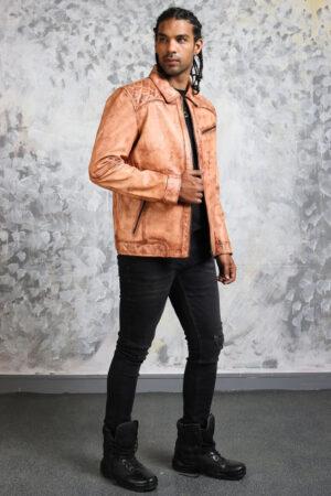Vintage Leather Tan Biker Jacket