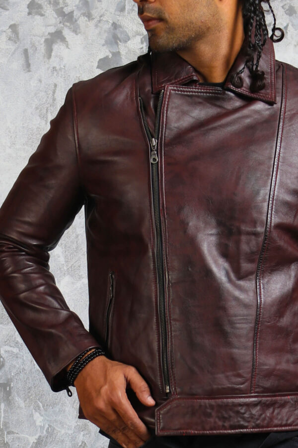 Waxed Leather Jacket with Collar