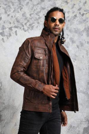 Men's Biker Brown Leather Jacket Detachable Collar