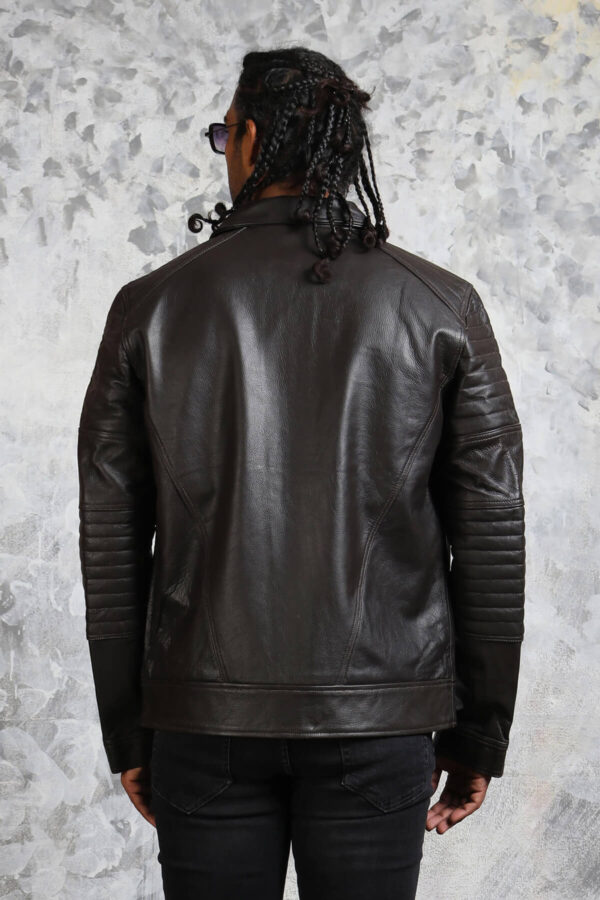 Black Leather Jacket with Padded Sleeves