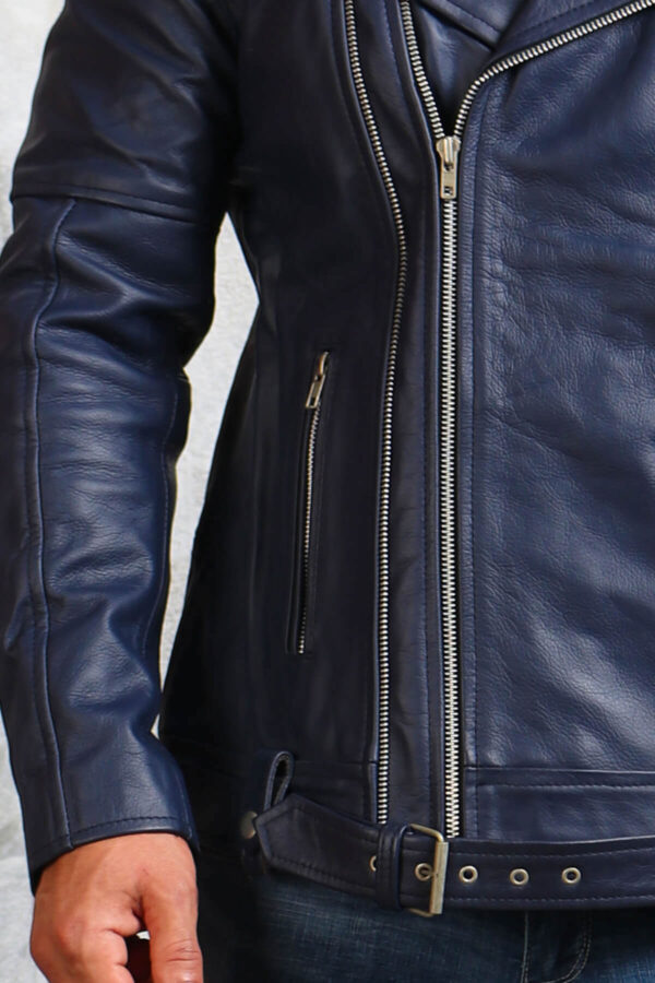 Blue Leather Jacket with Belt