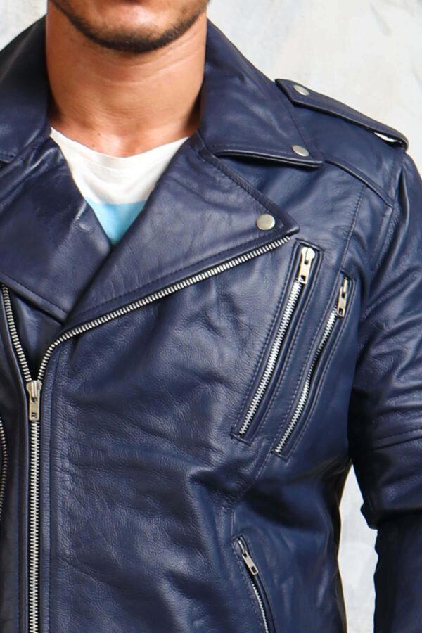 Blue Leather Jackets for Men