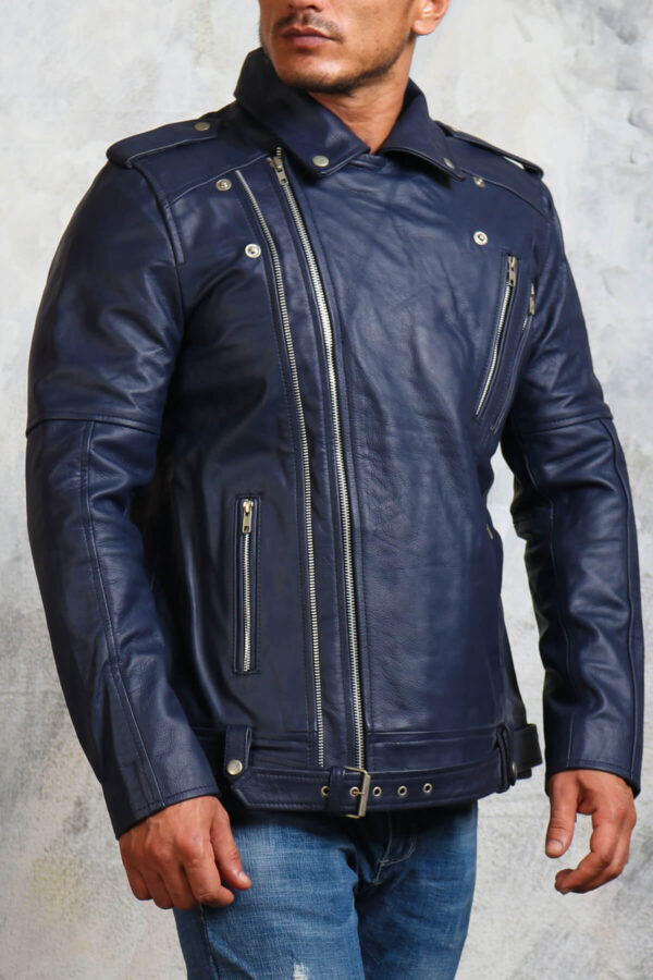 Blue Motorcycle Leather Jacket with Belt