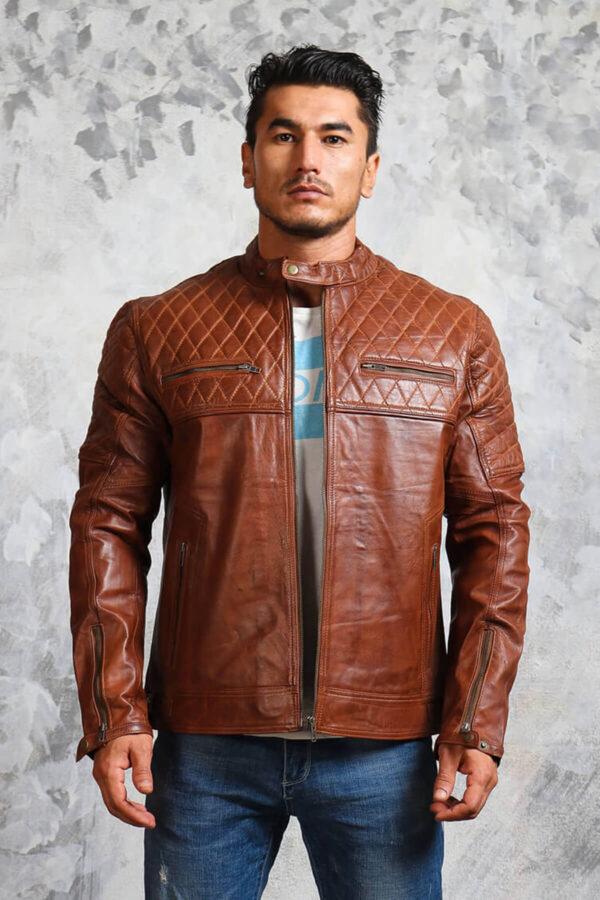 Brown Leather Biker Jacket Mens