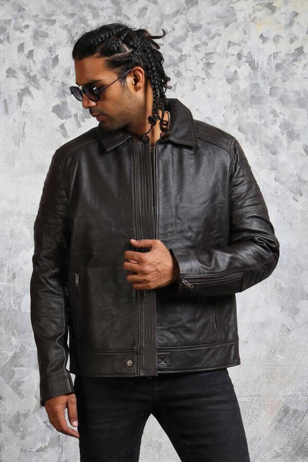 Classic Biker Leather Jacket Mens