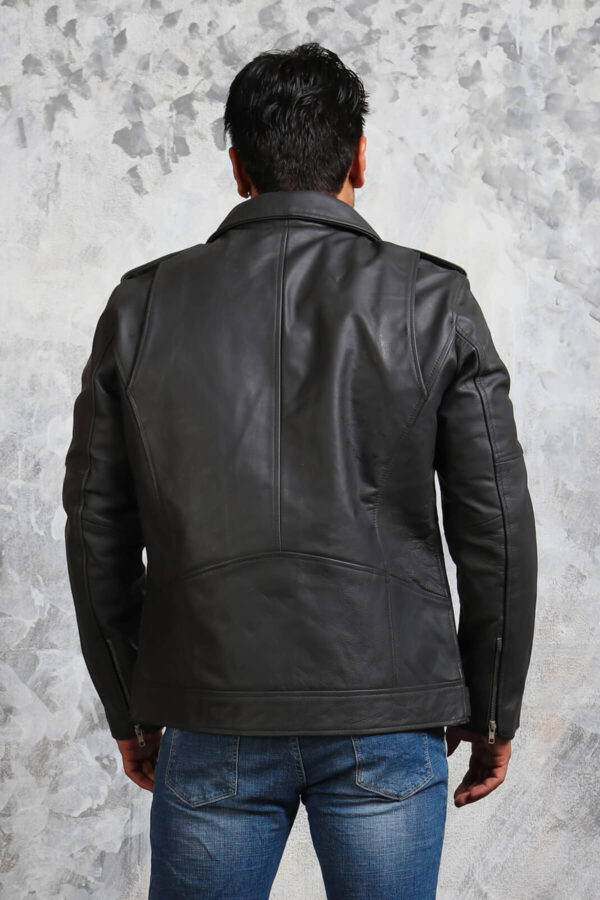 Grey Leather Jacket for Motorcycle Enthusiasts