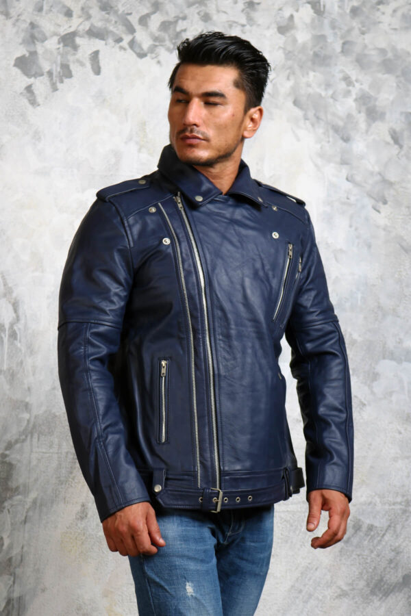 Leather Blue Motorcycle Jacket Mens