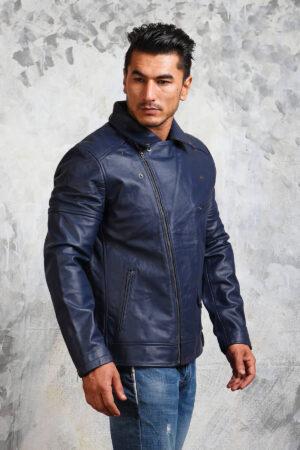 Mens Biker Blue Leather Jacket