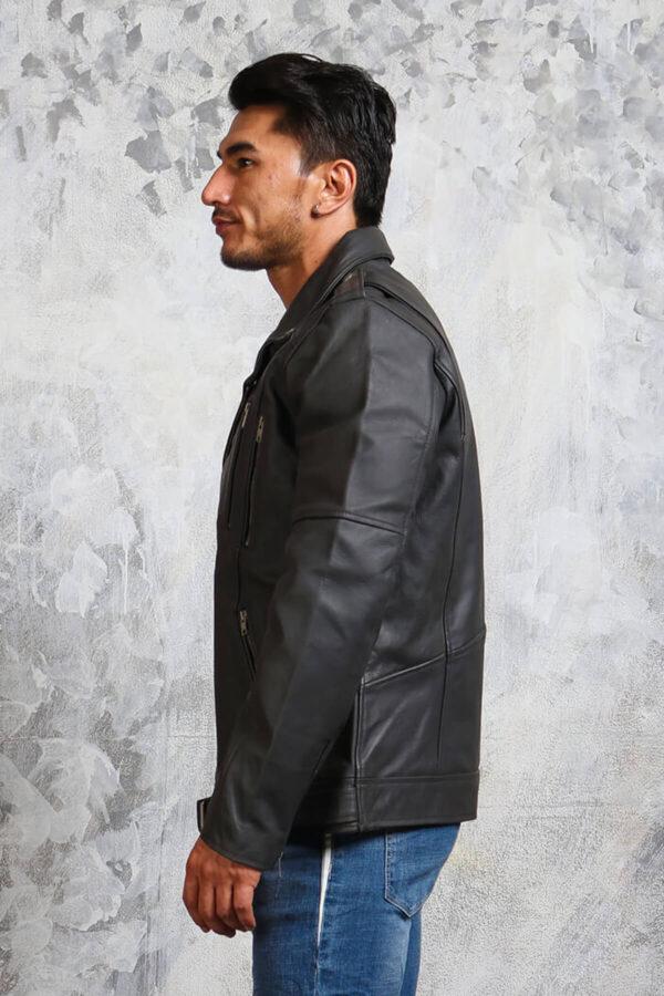 Mens Biker Grey Leather Jacket