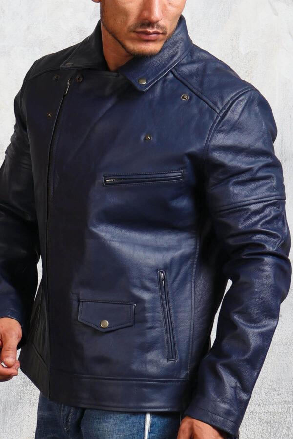 Mens Blue Biker Leather Jacket