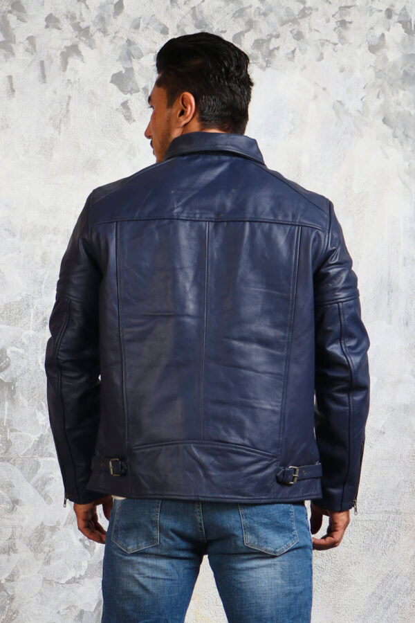 Mens Blue Leather Jacket with Collar
