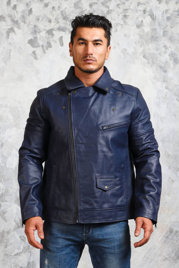 Mens Blue Motorcycle Leather Jacket
