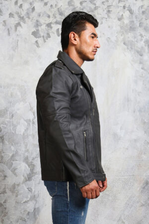 Mens Grey Leather Jacket with Belt
