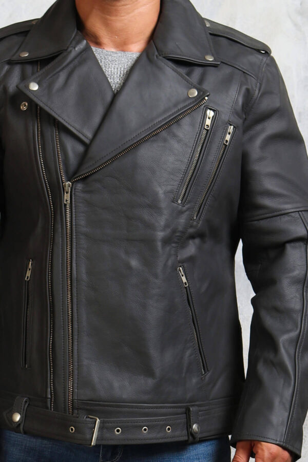 Mens Grey Motorcycle Jacket in Leather
