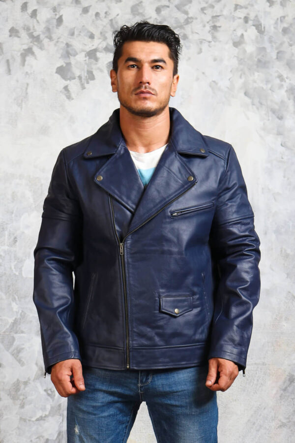 Mens Leather Blue Motorcycle Jacket