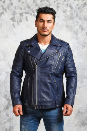 Motorcycle Blue Leather Jacket Mens