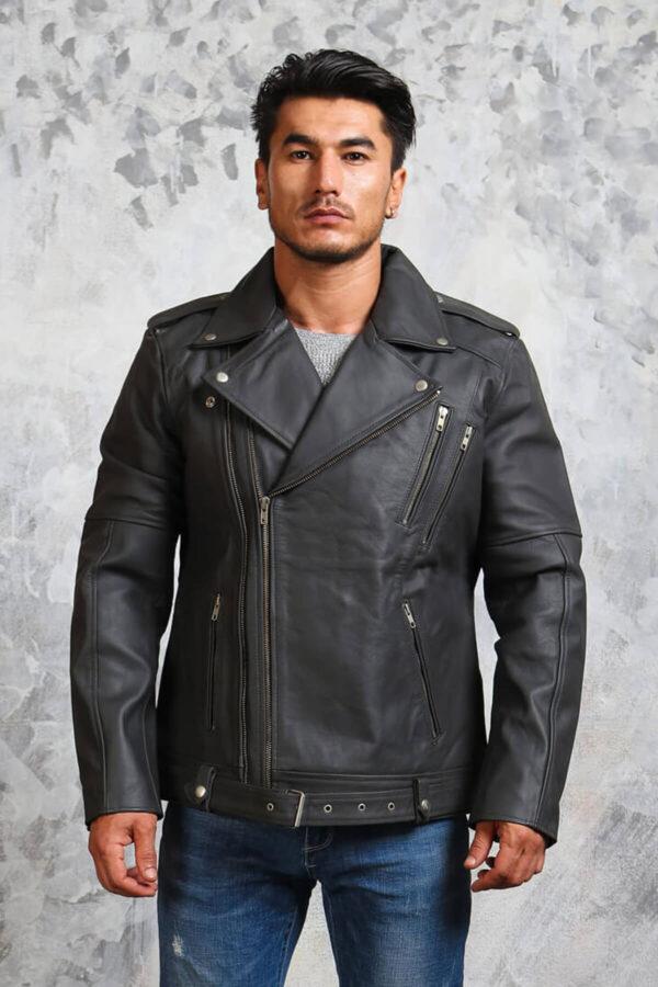Mens Motorcycle Grey Leather Jacket
