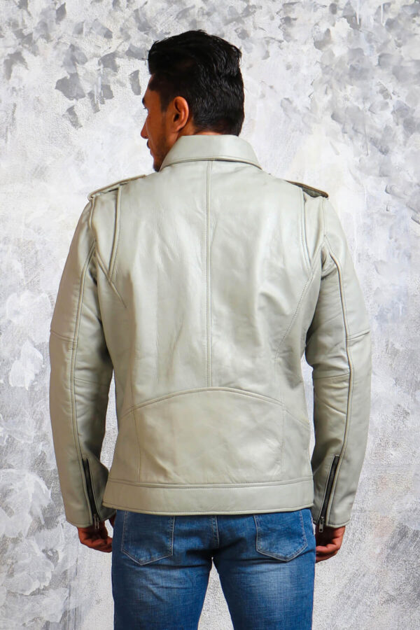 White Motorcycle Leather Jacket for Men