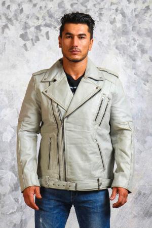 Motorcycle White Leather Jacket Mens