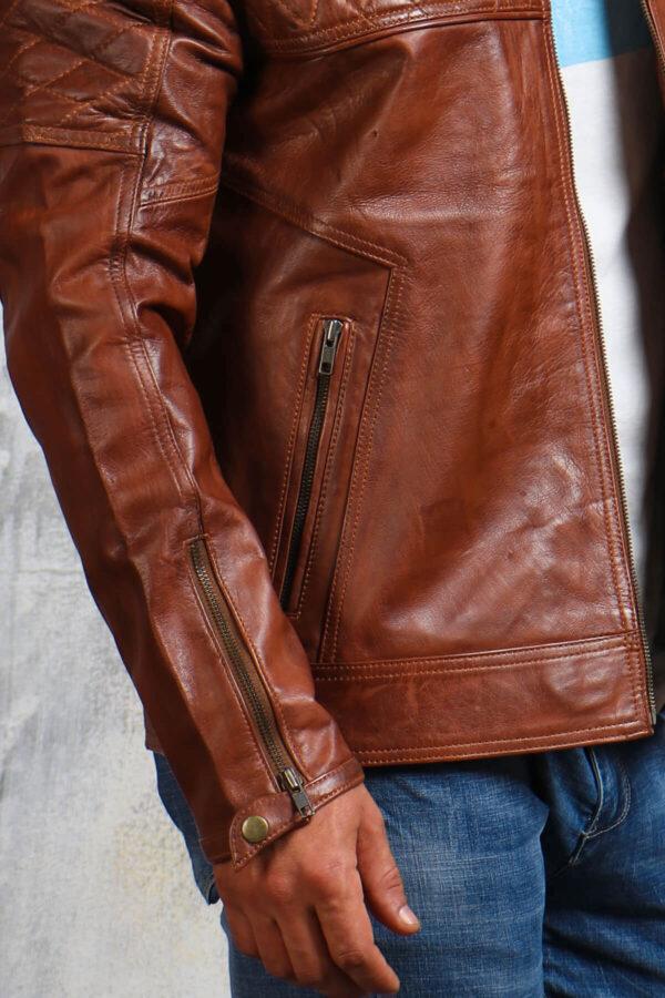 Quilted Mens Brown Biker Jacket