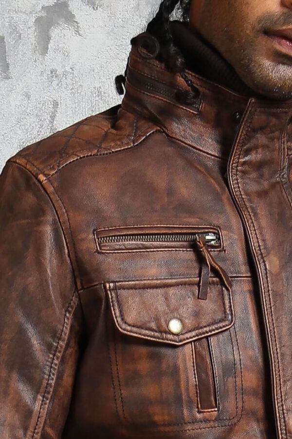 Vintage Brown Leather Biker Jacket
