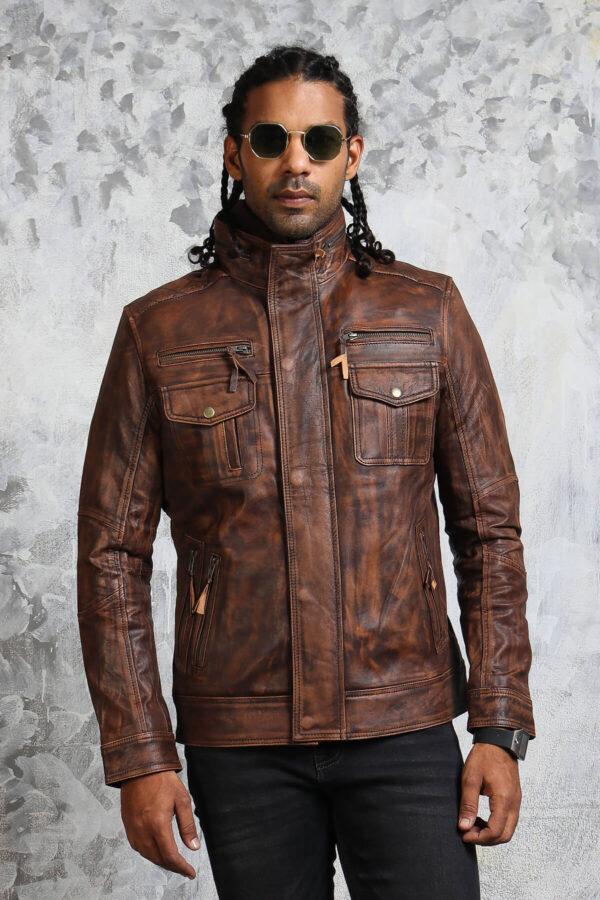 Vintage Biker Brown Leather Jacket
