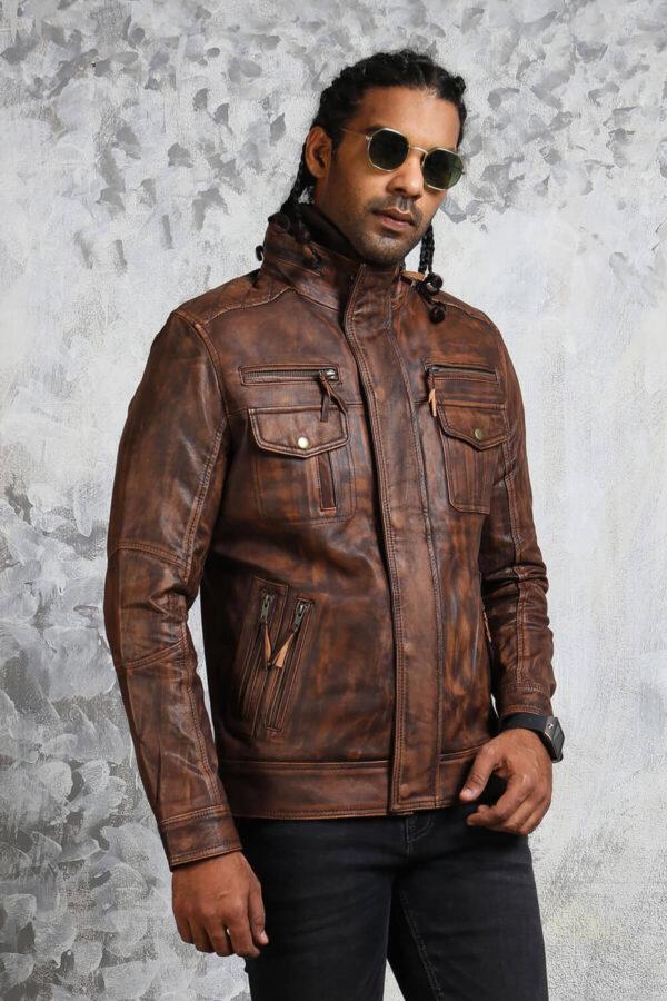 Vintage Leather Brown Biker Jacket Mens