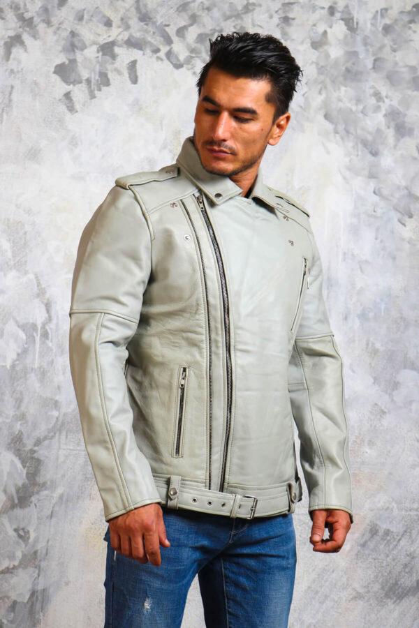 White Leather Motorcycle Jacket Mens