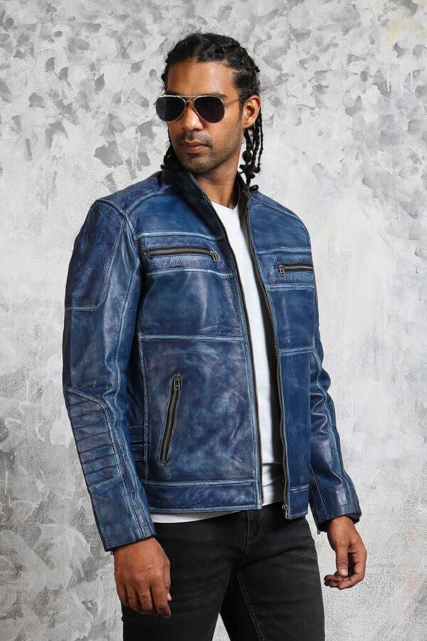 Biker Blue Leather Jacket Menswear