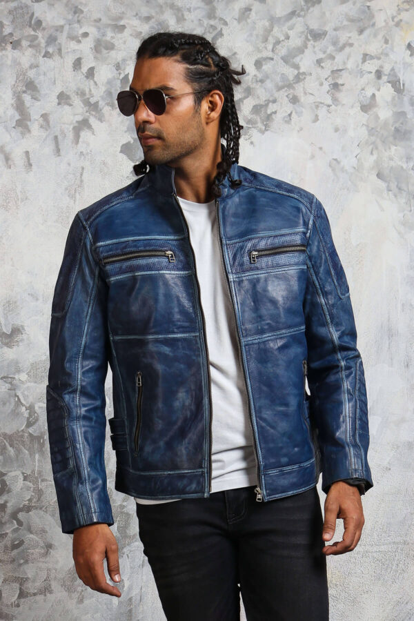 Biker Mens Blue Leather Jacket