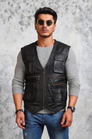 Black Biker Leather Vest for Men