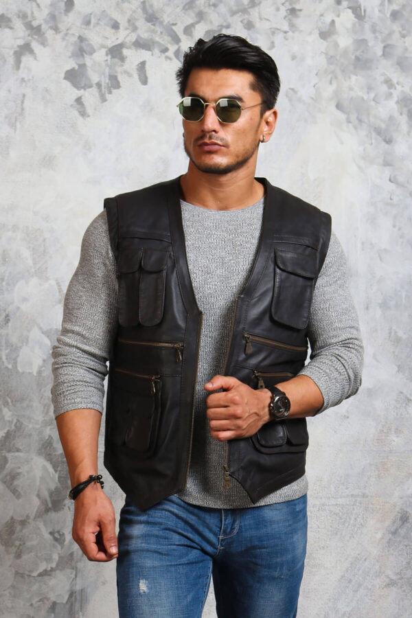 Motorcycle Black Leather Vest with Cargo Pockets