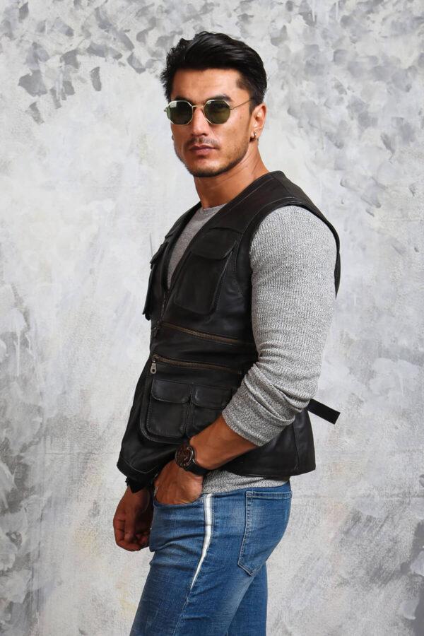 Black Leather Vest Chris Pratt