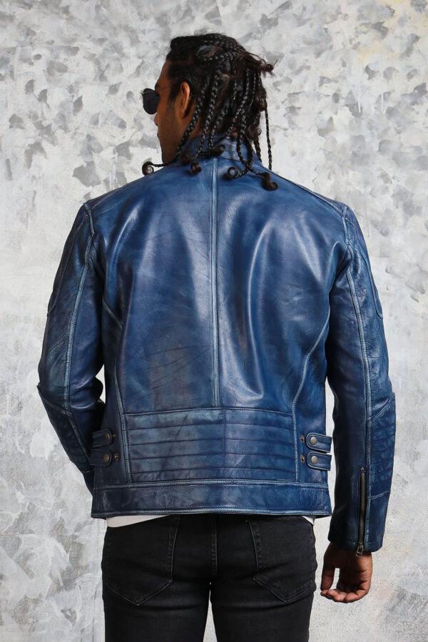 Blue Motorcycle Jacket Mens Fashion
