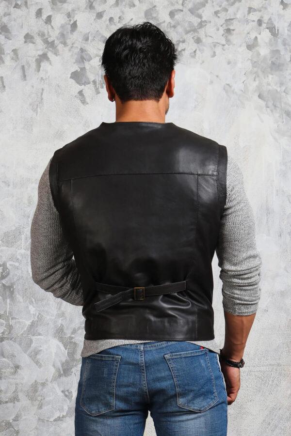 Mens Biker Fitted Black Leather Vest