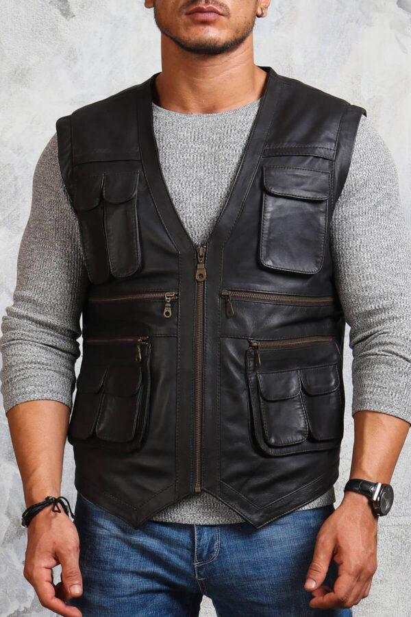 Men's Biker Leather Vest in Black