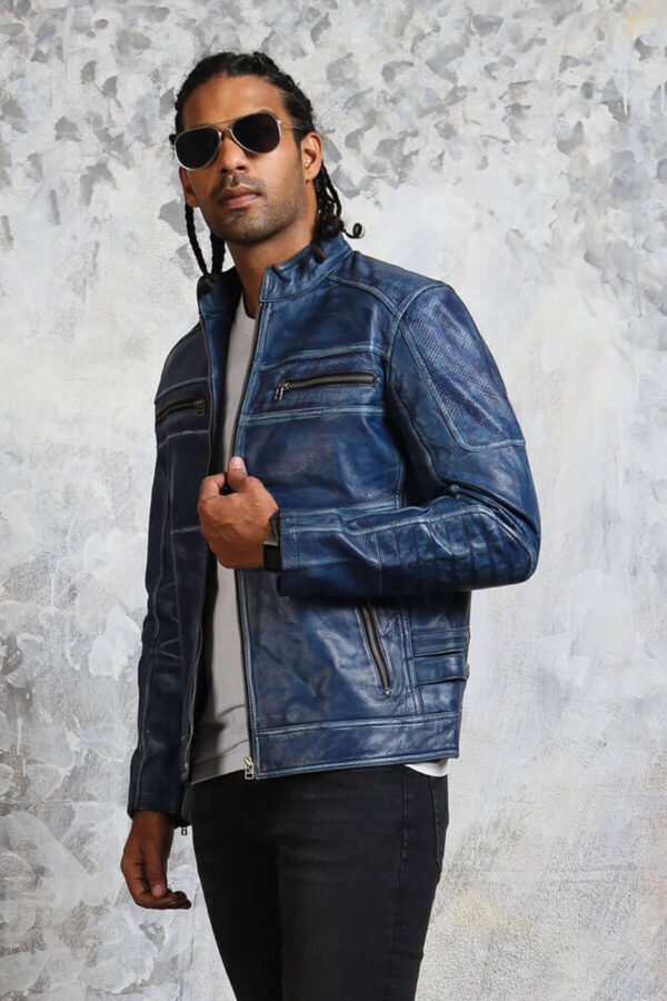 Motorcycle Blue Leather Jacket for Men